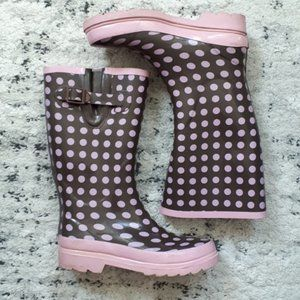 GROOVE Rainboots - Brown w/ Pink Polka Dots Size 8